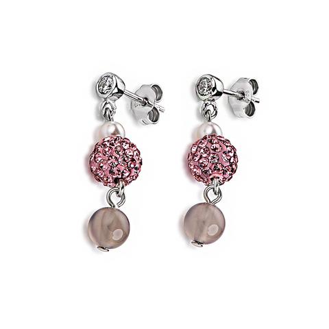 Серьги Coeur de Lion 4832/21-1900 цвет серый, розовый
