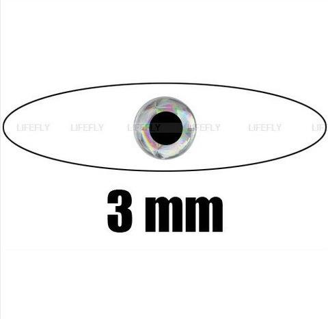 ГЛАЗКИ 3D голографические, самоклеющиеся Ф 3мм (30 глаз./накл.), цвет серебро