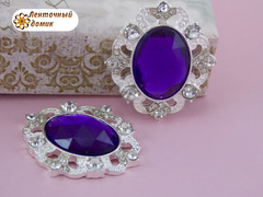 Камни овальные в серебряной оправе фиолетовые