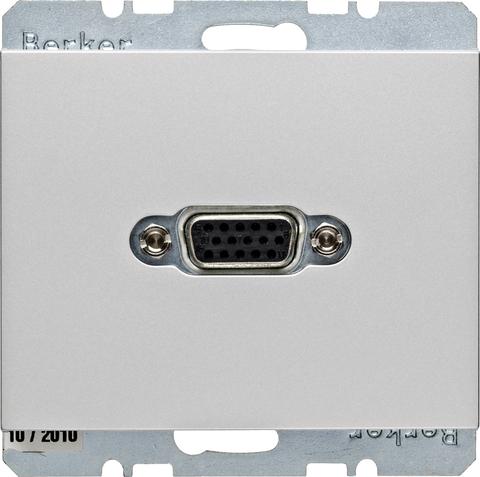 Розетка VGA (подключение к собранному кабелю). Цвет Алюминий. Berker (Беркер). K.5. 3315407003. Цвет Алюминий. Berker (Беркер). K.5. 3315407003