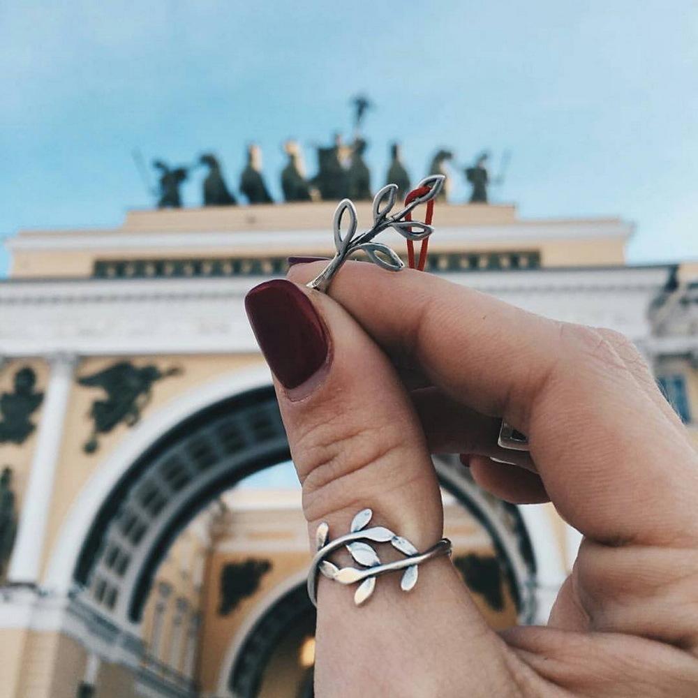 Laurel branch ring, Sterling Silver