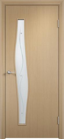 Дверь Сибирь Профиль Волна (с фьюзингом), стекло с фьюзингом, цвет беленый дуб, остекленная