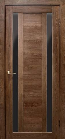 Дверь Эколайт Дорс Тандем, стекло чёрное лакобель, цвет дуб шоколадный, остекленная