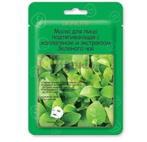 SKINLITE SL-211 Маска для лица подтяг.с коллагеном и экстрактом Зеленого чая 1шт/23мл