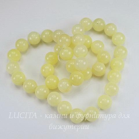 Бусина Жадеит (тониров), шарик, цвет - бледно-желтый, 10 мм, нить