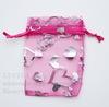 """Подарочный мешочек из органзы """"Сердечки"""", цвет - фуксия с серебряным, 9х7 см"""