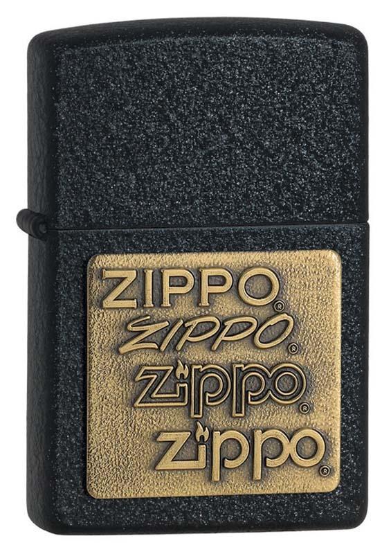 Зажигалка ZIPPO Classic Black Crackle™ с логотипами