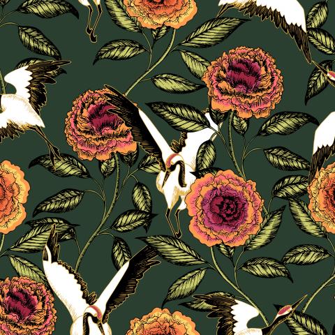 Журавли и розы на зелёном
