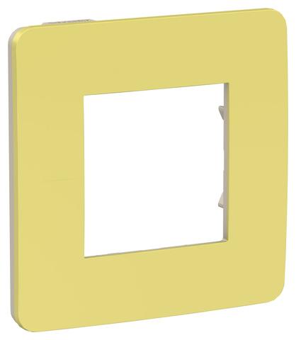Рамка на 1 пост. Цвет Зеленое яблоко/бежевый. Schneider Electric Unica Studio. NU280212