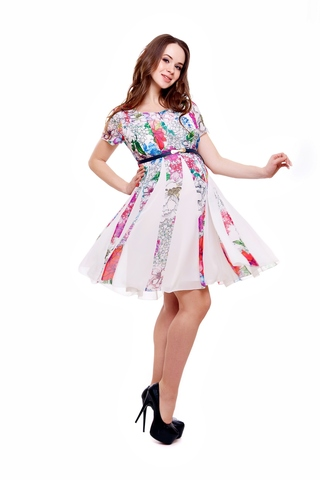 Платье 07378 белый