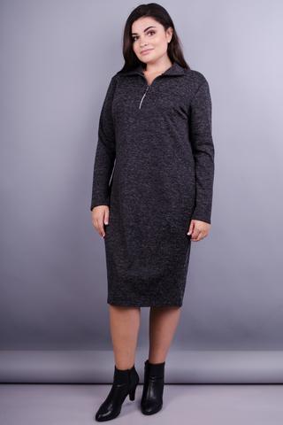 Максі. Повсякденна сукня для жінок з пишними формами. Меланж графіт.