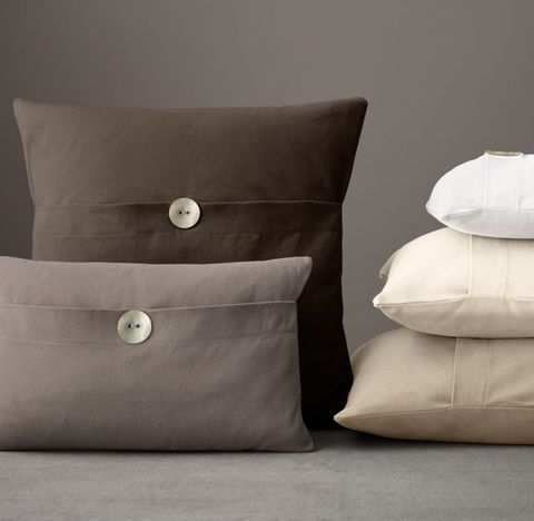 Custom Brushed Cotton Twill Button Pillow Cover