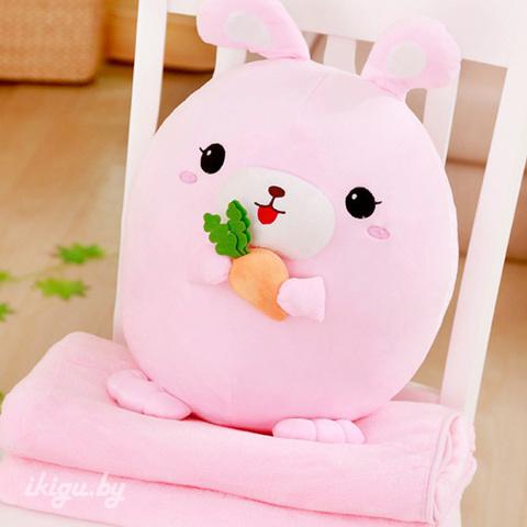 Заяц с пледом Розовый