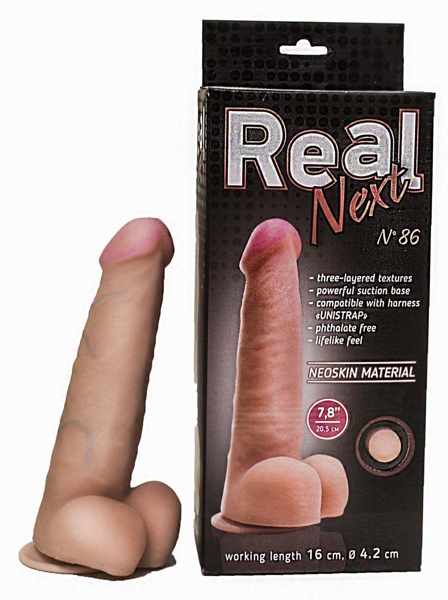 Реалистичные: Телесный фаллоимитатор на присоске REAL Next №86 - 20,5 см.