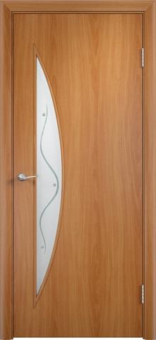 Дверь Сибирь Профиль Луна (с фьюзингом), цвет миланский орех, остекленная