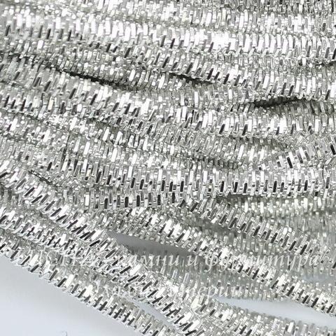 Канитель для вышивания Трунцал 4-гранный 3 мм (цвет - светлое серебро)