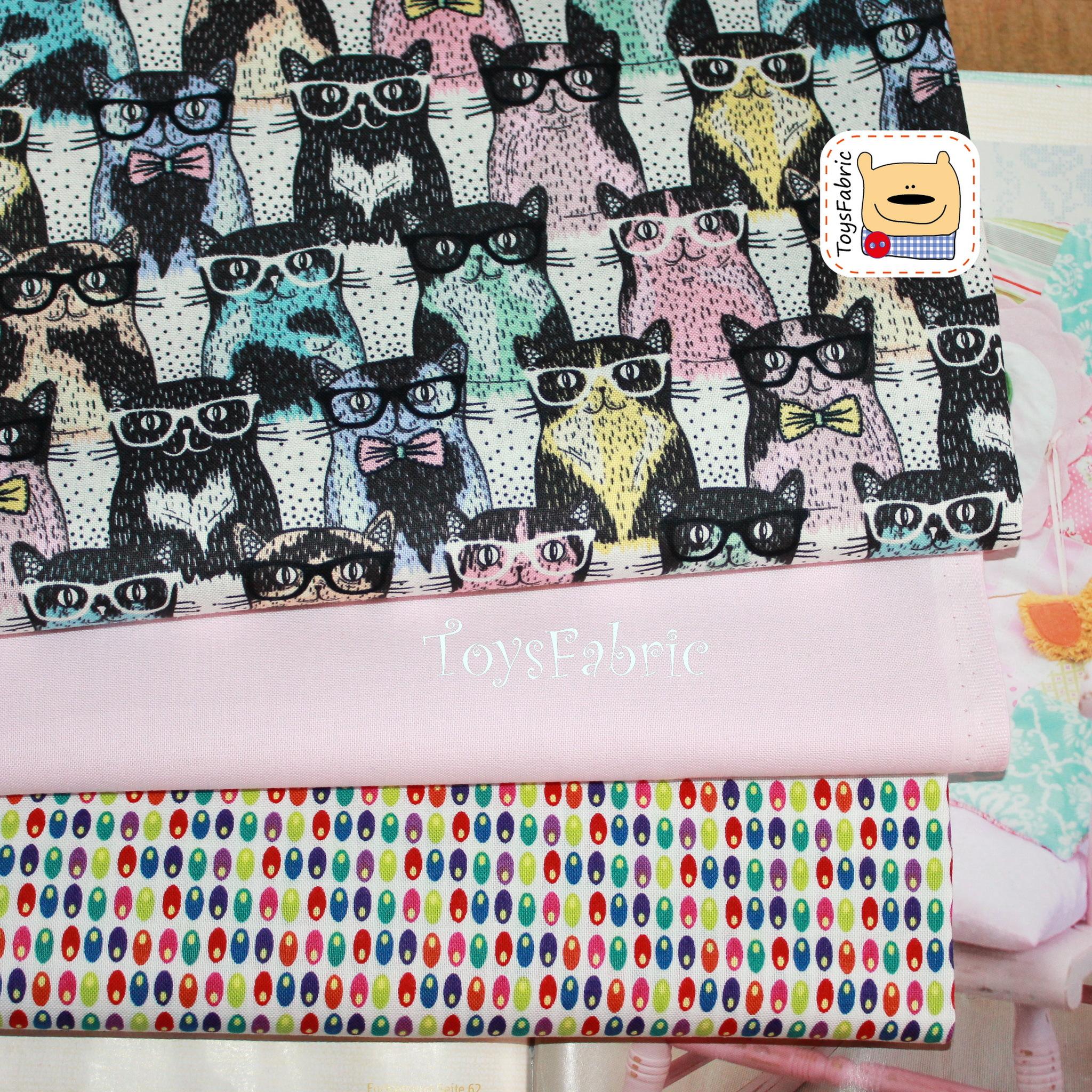 Набор тканей для пэчворка 51771 Коты в очках (45х35см/3шт.)