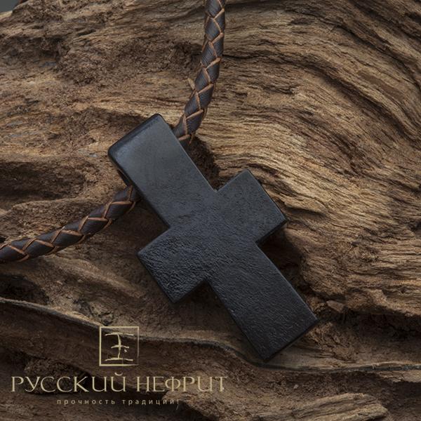Крест из чёрного нефрита
