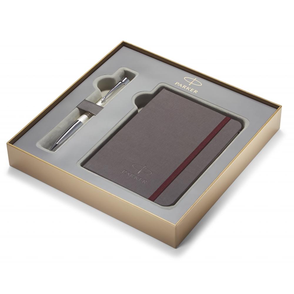 Набор подарочный Parker Urban Premium - Pearl Metal Chiselled, шариковая ручка, M + блокнот