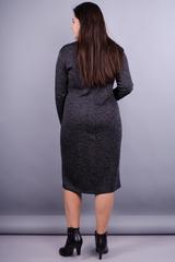 Макси. Женское повседневное платье для дам с пышными формами. Графит.