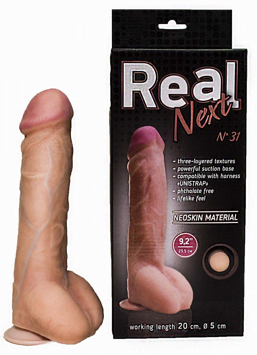 Реалистичные: Гигантский фаллоимитатор на присоске REAL Next №31 - 23,5 см.