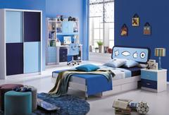 """Спальня """"Бамбино (Bambino) (MK-4600-BL)"""" (Кровать детск 120x200 (MK-4601-BL) Тумбочка прикр. (MK-4602-BL) Шкаф купе 2-х дв.) —  Синий"""