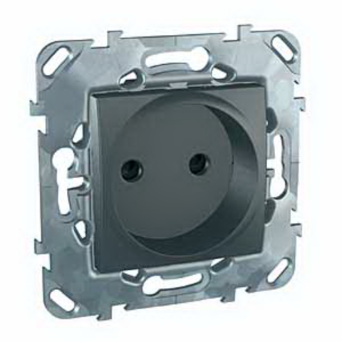 Розетка без заземления, со шторками. Цвет Графит. Schneider electric Unica Top. MGU5.033.12ZD