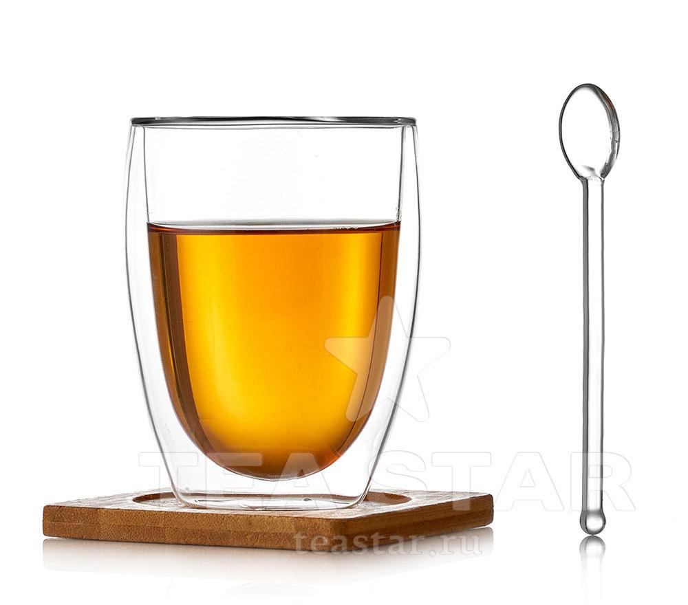 Чашки с двойными стенками Чашка с двойными стенками с подставкой и ложкой, 350 мл Landish_dvoynie_stenki_lozhka_steklo_podstavka_bamboo_350ml.jpg