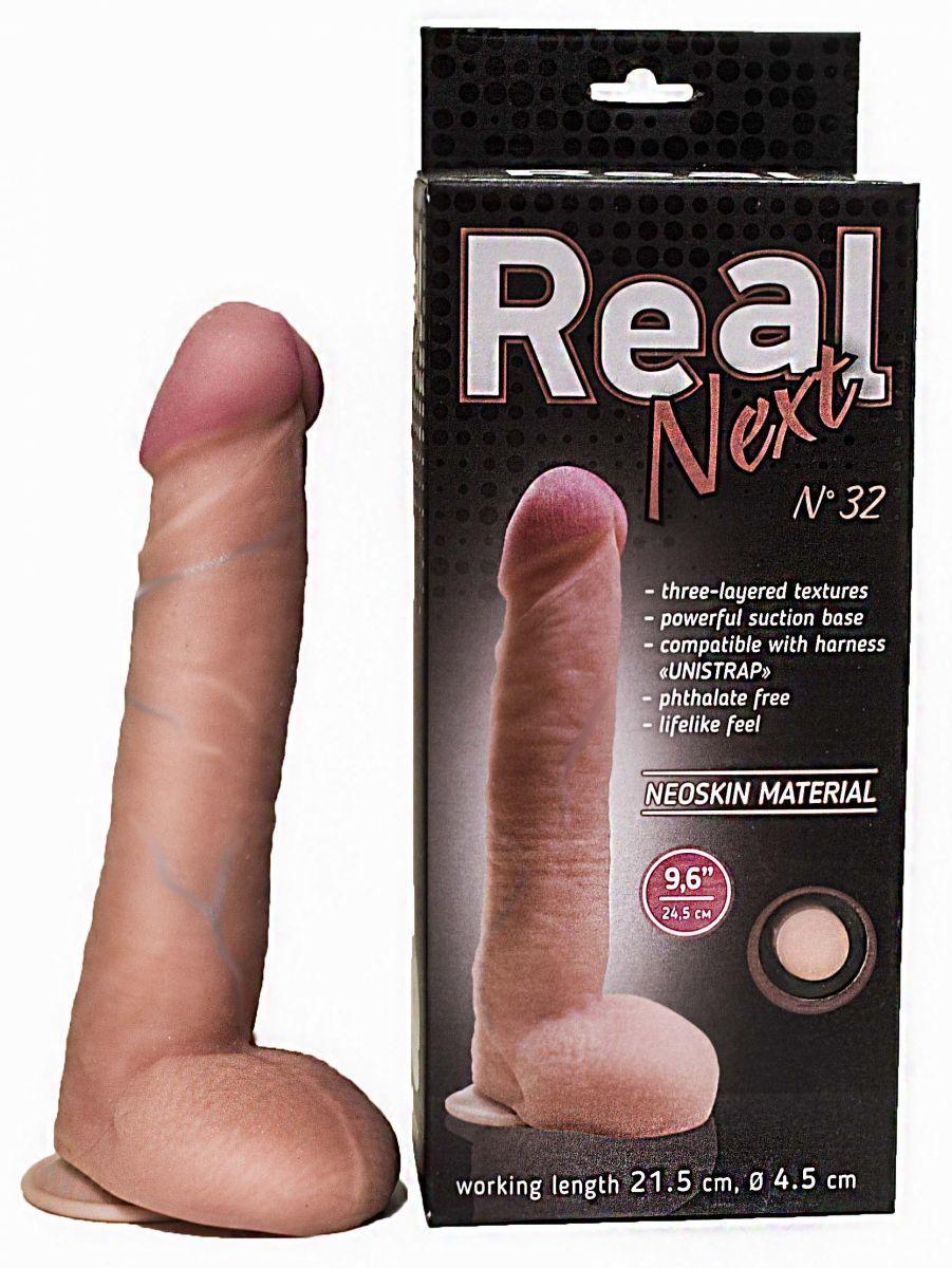 Реалистичные: Большой фаллоимитатор из неоскин на присоске REAL Next №32 - 24,5 см.