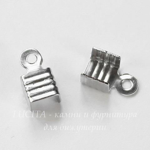 Концевик для шнура 3,5 мм (цвет - платина) 8х4,5 мм, 20 штук