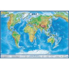 Настенная карта Мир 1,0х0,7м 1:34млн физическая