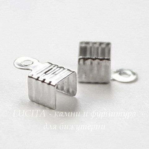 Концевик обжимной для шнура 3,5 мм, 8х4,5 мм (цвет - платина), 20 штук
