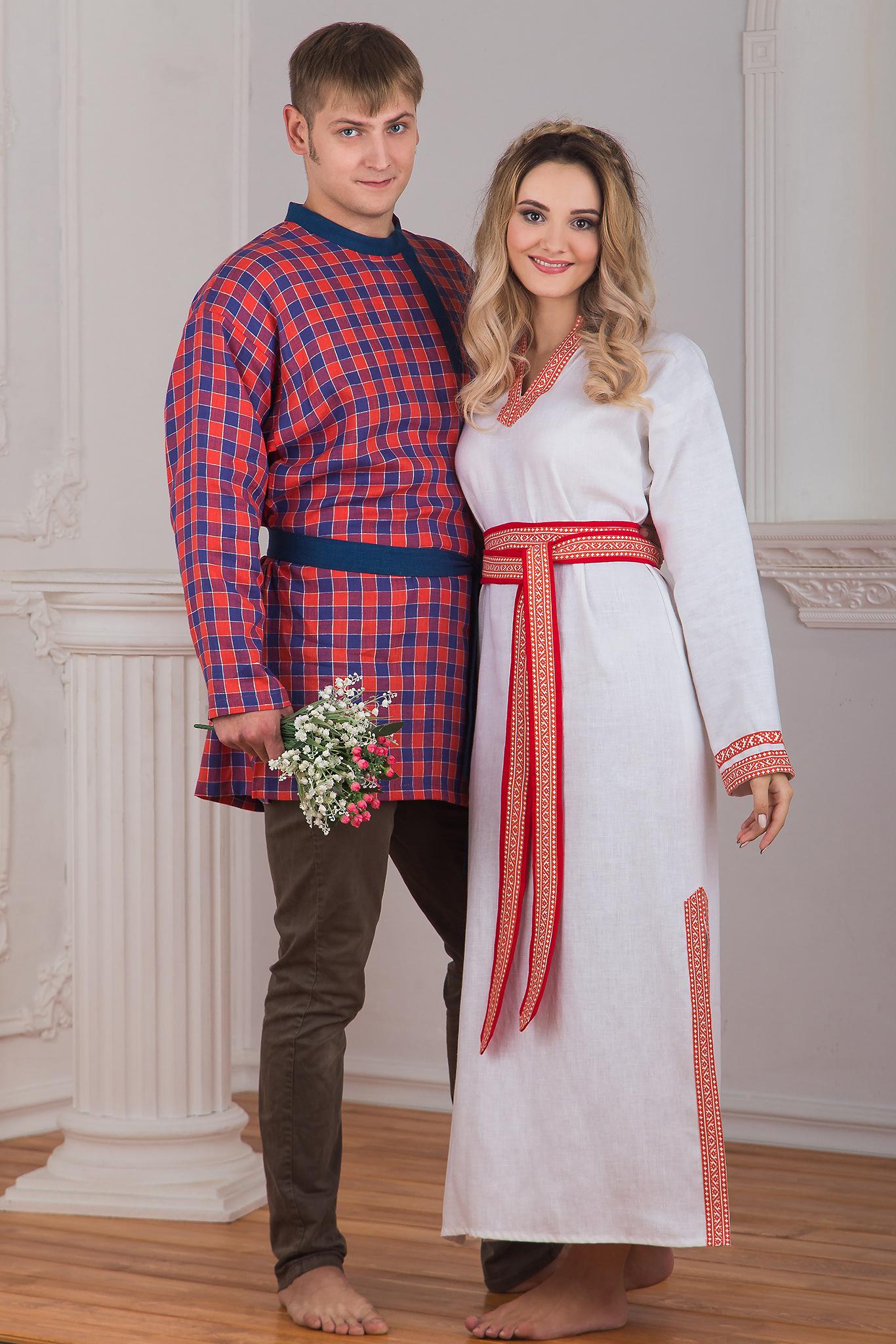 Сочетание костюмов для пары, славянская одежда в интернет магазине Иванка. Рубаха женская