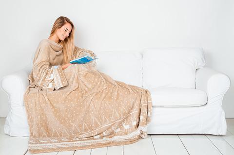 Плед с рукавами Sleepy New Year с поясом, бежевый с оленями