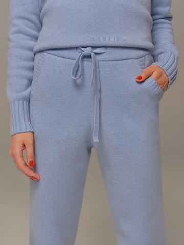 Женские брюки голубого цвета из шерсти и кашемира - фото 4