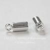 Концевик для шнура 3 мм, 9х3,5 мм (цвет - серебро), 4 штуки