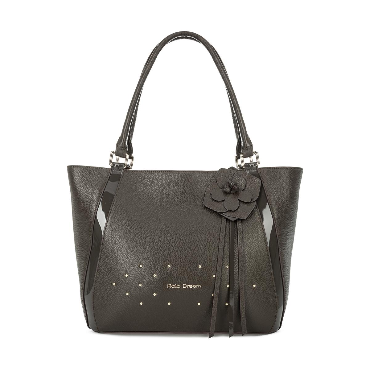 1007 FD кожа /лак серый-хаки (сумка женская)