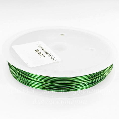 Проволока медная 0,8 мм, цвет - зеленый, примерно 3 метра