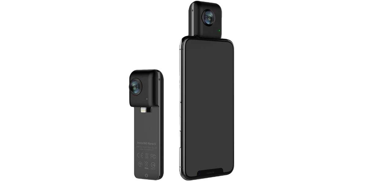 Камера Insta360 Nano S Black с телефоном и без