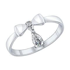 Серебряное кольцо с бантиком