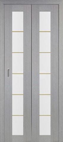 > Экошпон складная Optima Porte Турин 501АСС молдинг SG  (2 полотна), стекло матовое, цвет дуб серый, остекленная