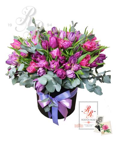 25 Пионовидных тюльпанов сиренево-фиолетовый микс