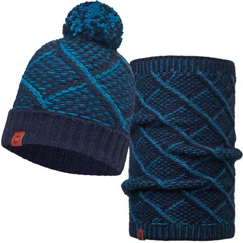 Комплект шапка шарф вязаные Buff Medieval Blue