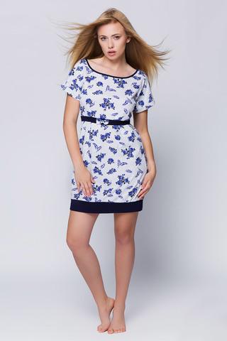 Женская сорочка серая с синими цветами