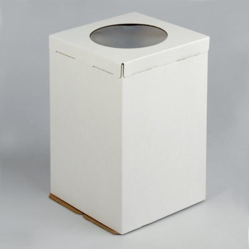 Коробка для торта с окном (320х320х350 мм)