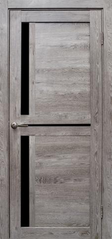 Дверь Эколайт Дорс Медиана, стекло чёрное лакобель, цвет дуб дымчатый, остекленная