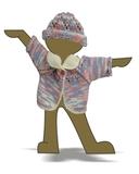 Вязаный жакет и шапочка меланж - Демонстрационный образец. Одежда для кукол, пупсов и мягких игрушек.