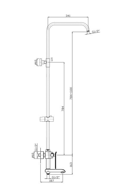 Тропическая, душевая система со смесителем для ванны с поворотным изливом, хром RUSH ST4235-20