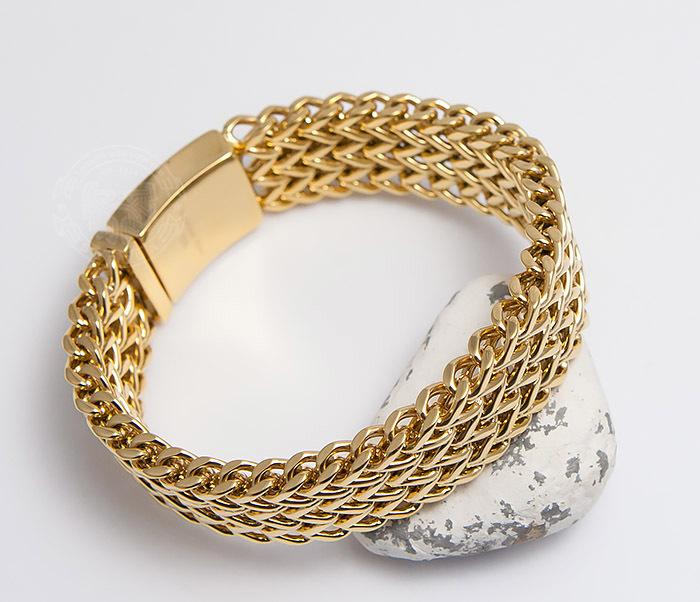 Тяжелый мужской браслет из стали золотистого цвета (22 см)