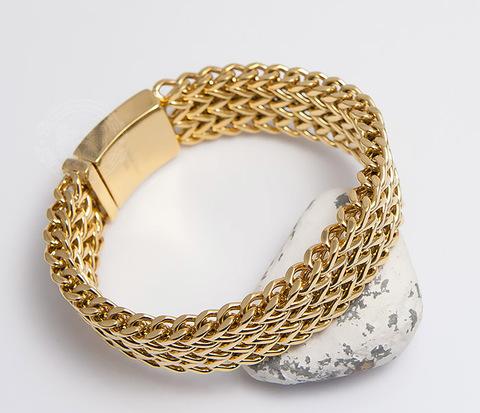 Тяжелый мужской браслет из стали золотистого цвета (21 см)